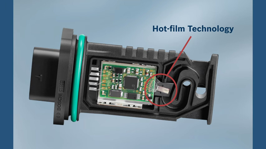 Bosch hot film maf sensor showing the superior circuitry